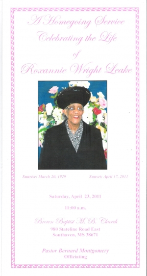Roxannie Wright-Leake (1929-2011)